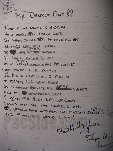My Dearest One - Tupac's Handwritten Poem