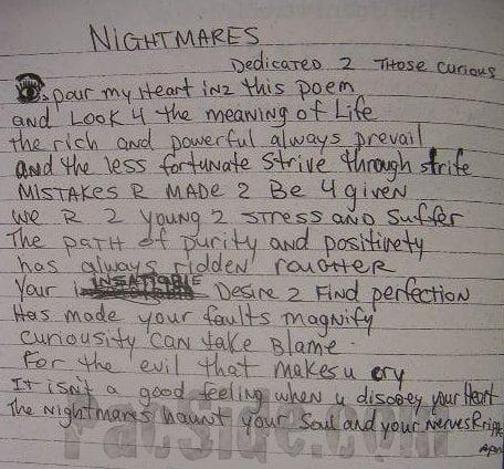 Nightmares (Dedicated 2 Those Curious) - Tupac's Handwritten Poem