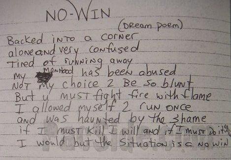 No-Win (Dream poem) - Tupac's Handwritten Poem