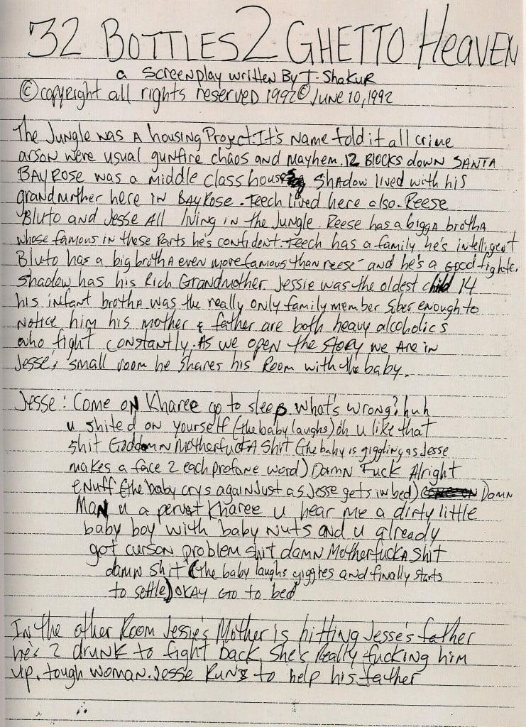 Screenplay - 32 Bottles 2 Ghetto Heaven (06-10-92) - tupac's handwritten miscellaneous