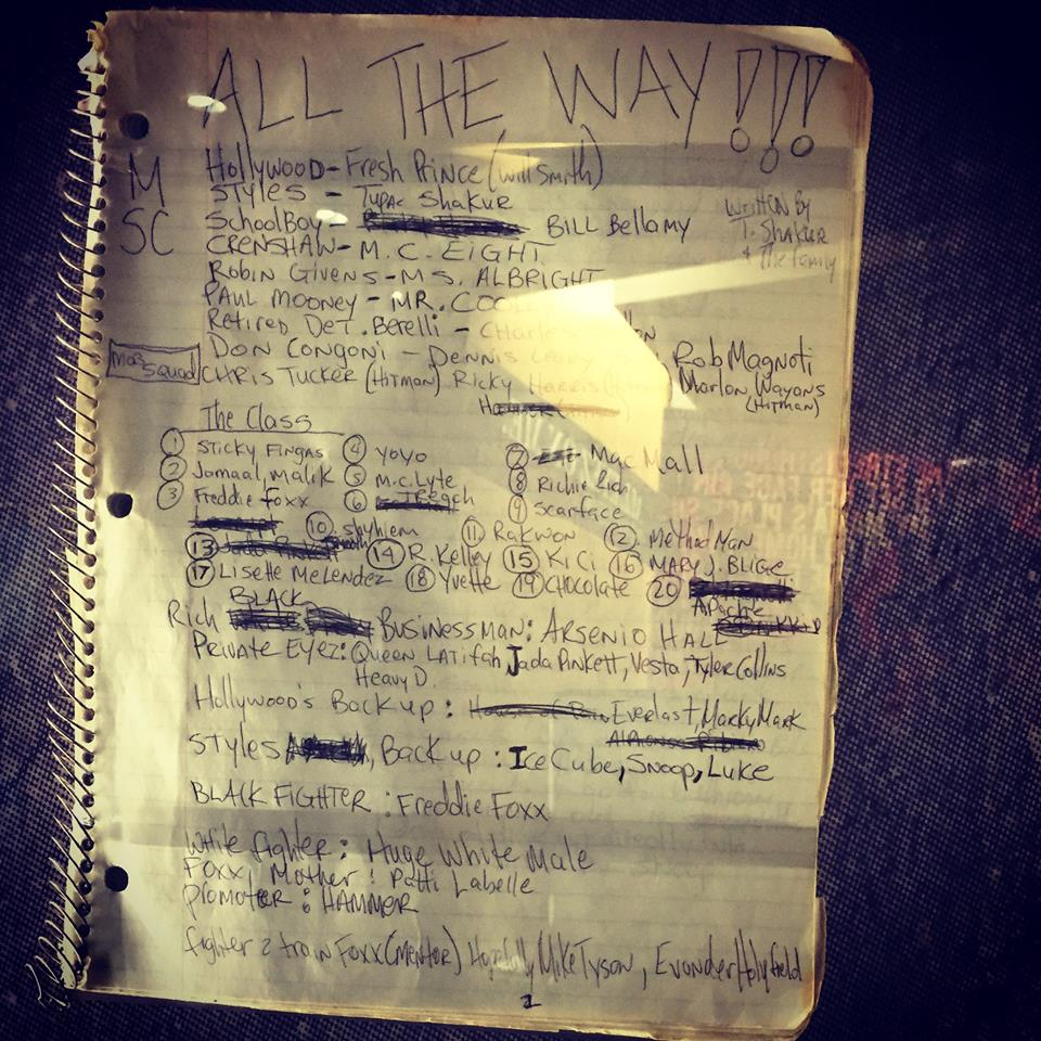Screenplay - All The Way - Tupac's handwritten Miscellaneous