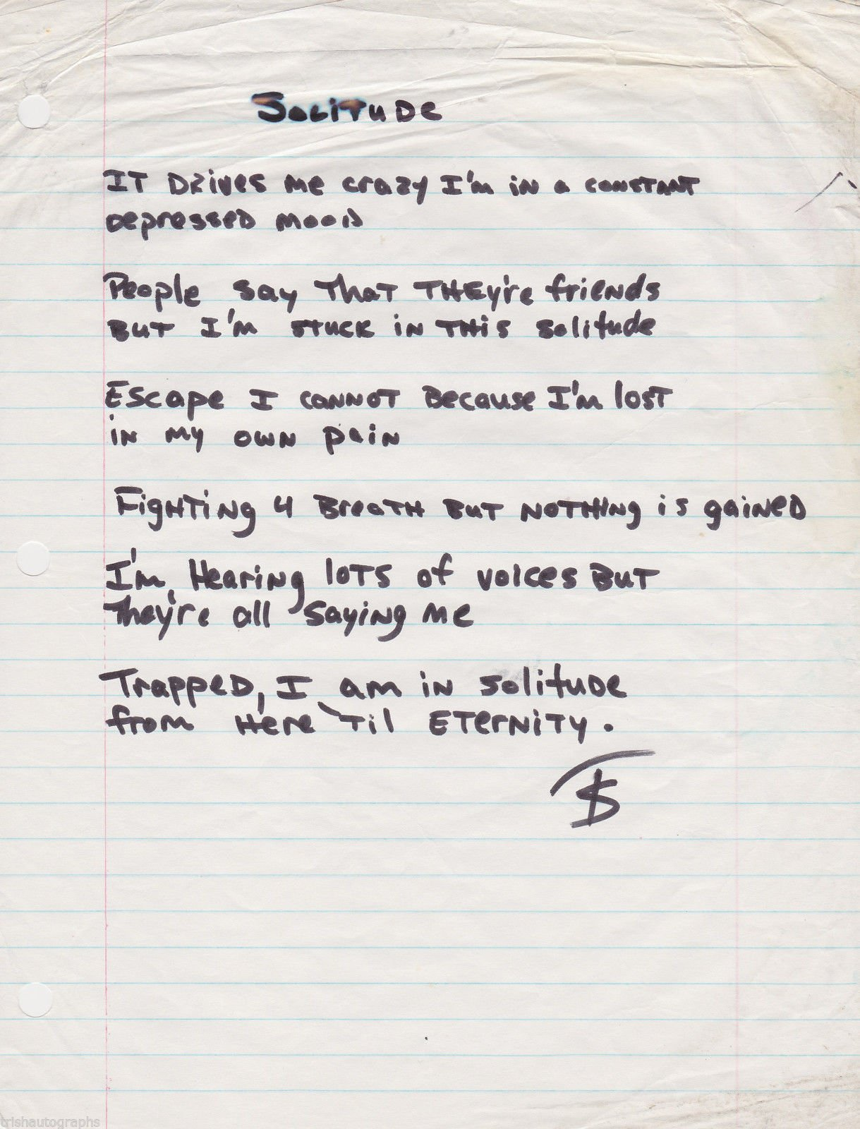 Solitude - Tupac's Handwritten Poem
