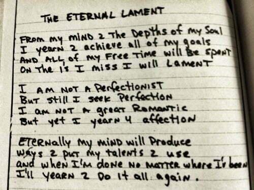 The Eternal Lament - Tupac's Handwritten Poem