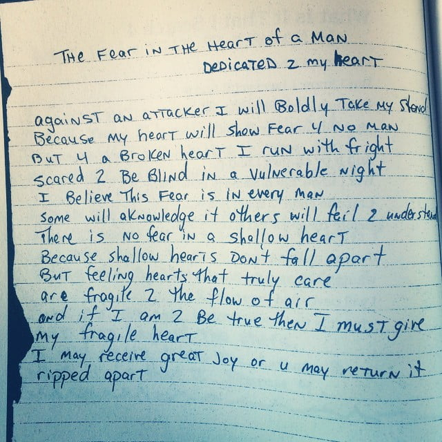 The Fear in the Heart of a Man (Dedicated 2 My Heart) - Tupac's Handwritten Poem