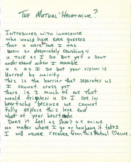 The Mutual Heartache - Tupac's Handwritten Poem