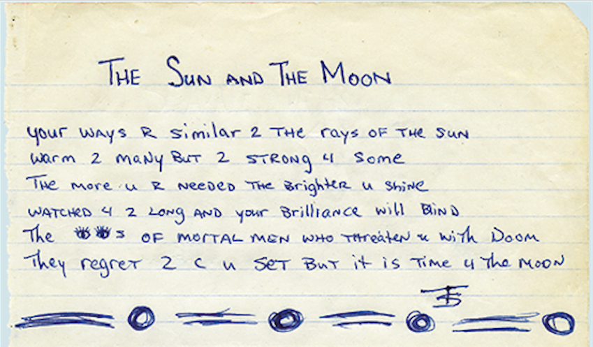 The Sun And The Moon - Tupac's Handwritten Poem