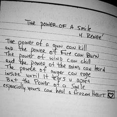 The power of a smile 4 Renee - Tupac's Handwritten Poem