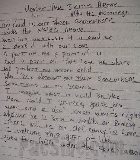 Under the Skies Above After the Miscarriage - Tupac's Handwritten Poem