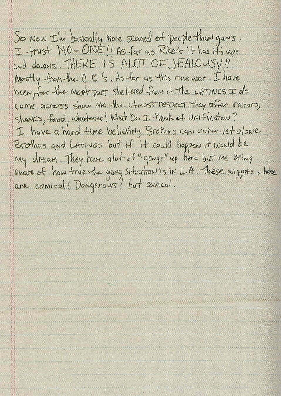 Untitled Letter - Trust No One - Tupac's Handwritten Letter