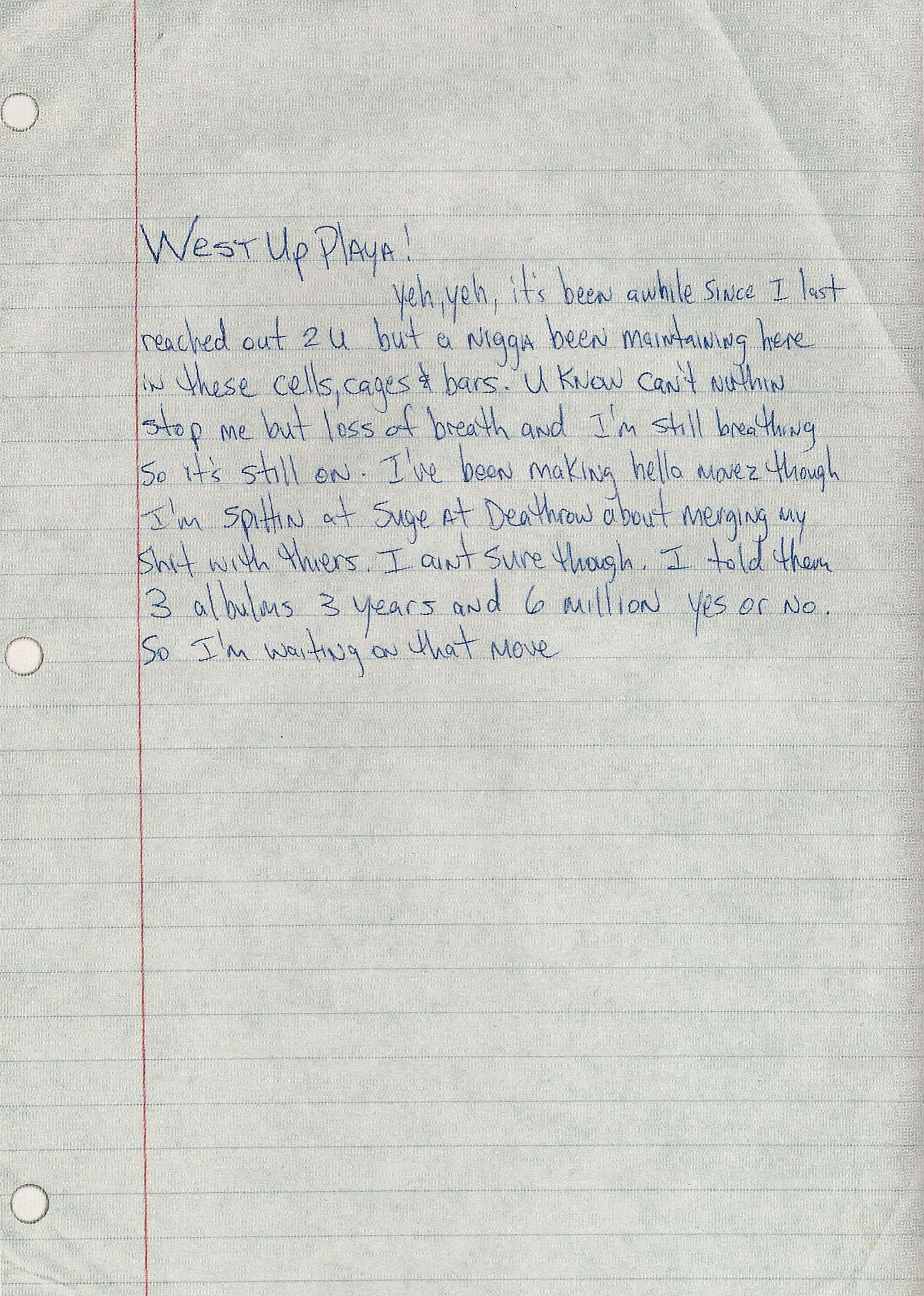 Untitled Letter - West Up Playa Tupac's Handwritten Letter