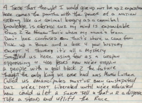 Untitled (Uplift The Race) - Tupac's Handwritten Poempng