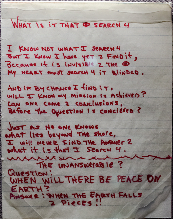 What Is It That I Search 4   - Tupac's Handwritten Poem