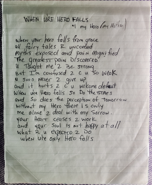 When Ure Hero Falls (1991) - Tupac's Handwritten Poem