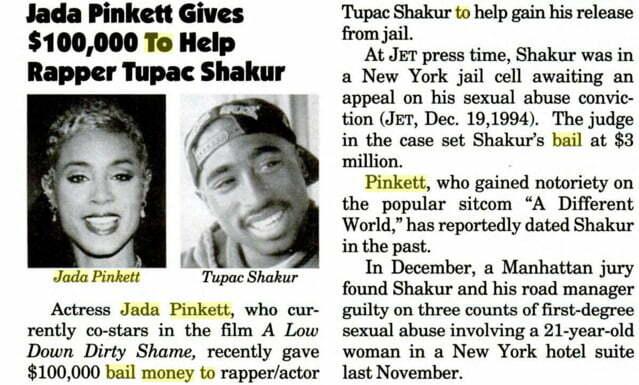 Jada send 100 K dollars for Tupac