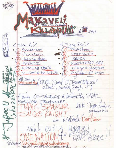 Makaveli Drafts Tracklist
