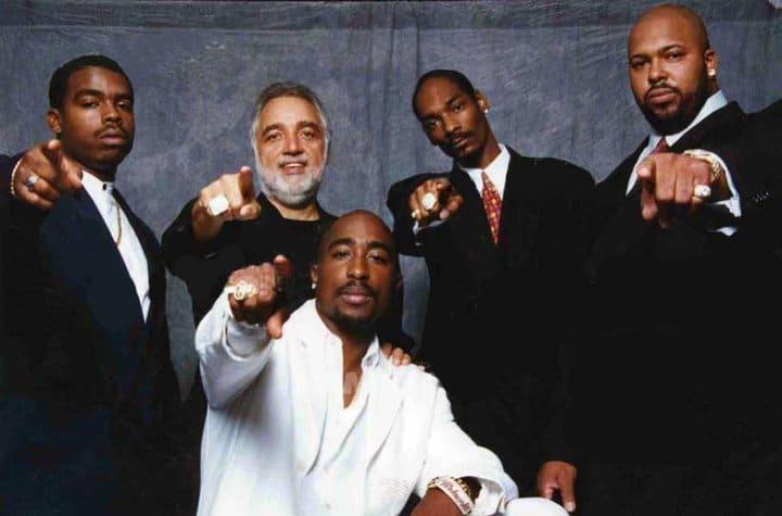 Tupac, Daz, Brotherhood Crusade director Danny Bakewell, Snoop Dogg and Suge Knight