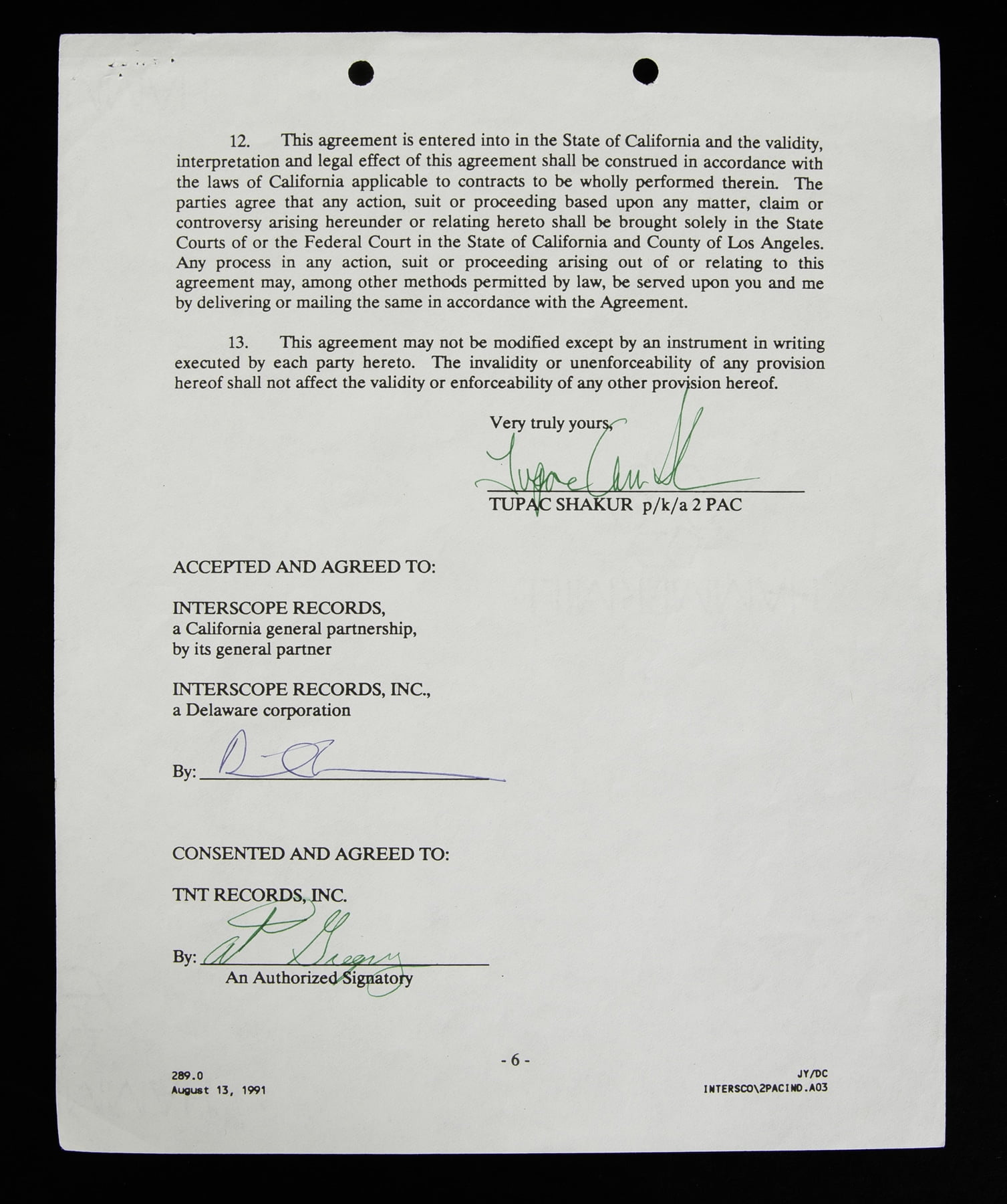 Tupac Contract With Interscope Records 2pac Legacy