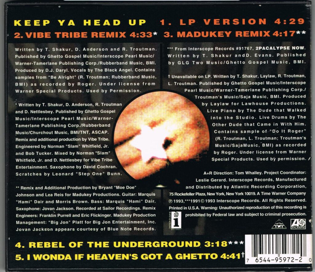 2Pac - 1993 - Keep Ya Head Up (CDM) (95972-2) (US)