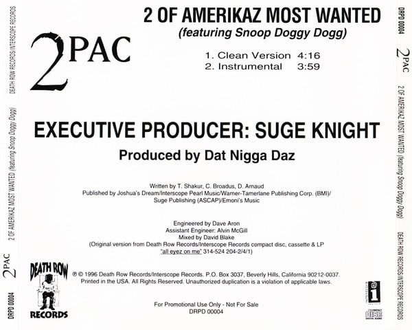 2Pac - 1996 - 2 Of Amerikaz Most Wanted (Promo CDS) (DRPD 00004) (US)