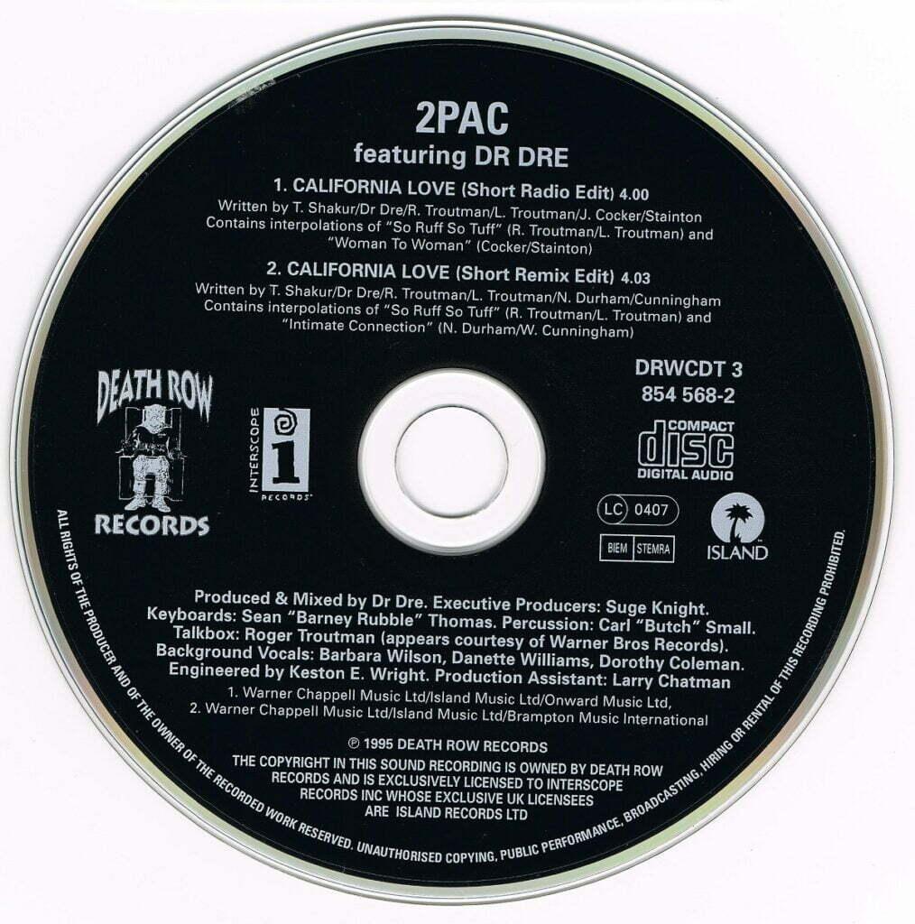 2Pac - 1995 - California Love (2 Trk Cardsleeve) (CDS) (DRWCDT 3, 854 568-2) (EU, FR)