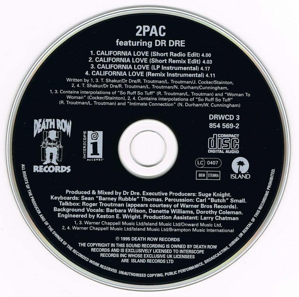 2Pac - 1995 - California Love (EU 4 Trk) (CDS) (DRWCD 3, 854 569-2) (UK)