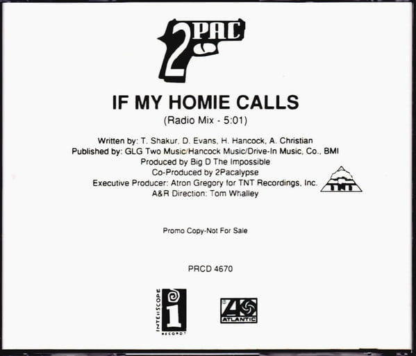 2Pac - 1992 - If My Homie Calls (Promo CD) (PRCD 4670) (US)