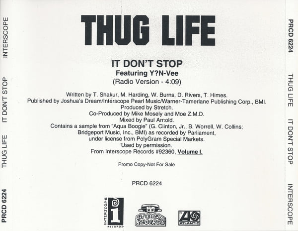 Thug Life - 1995 - It Don't Stop [PRCD 6224]